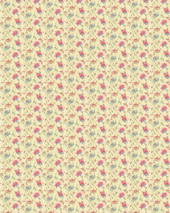 Printable dollhouse wallpaper floral 03